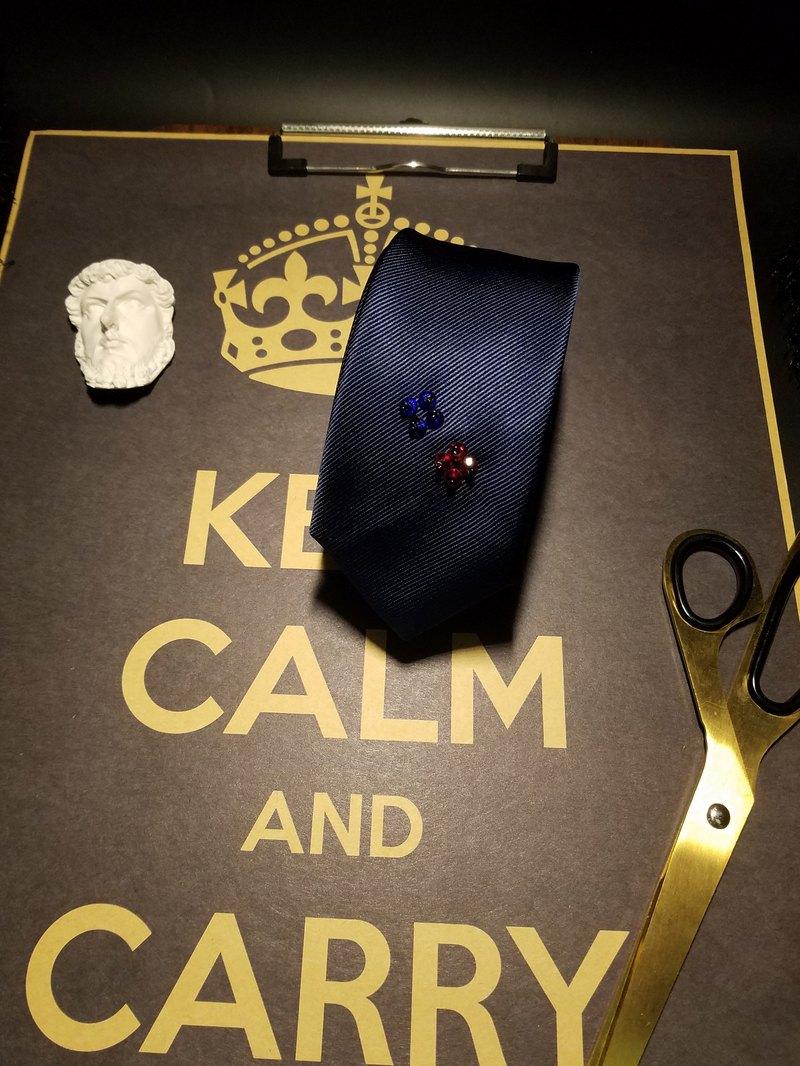 藍色真絲手工釘珠領帶紳士風領帶