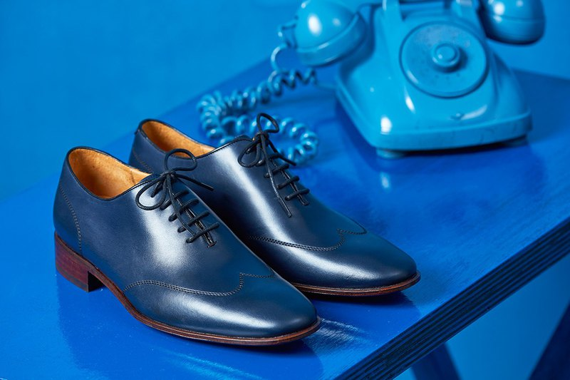 WHOLE-CUT 翼紋縫線牛津鞋 藏青 紳士鞋│婚鞋│皮鞋│男