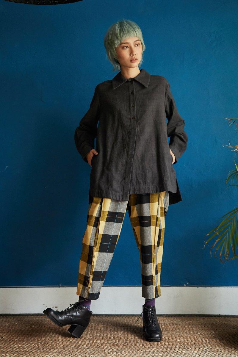 半釦長袖襯衫-黑鳶-公平貿易