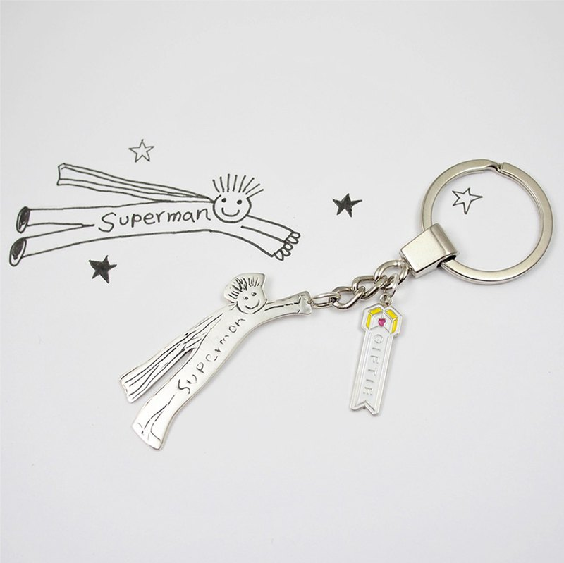 上傳您小寶貝兒童畫 訂製獨一無二的首飾 / 925純銀鑰匙圈