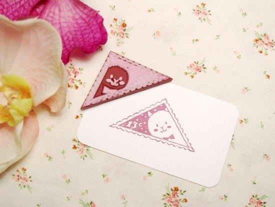 Apu手工章 超可爱 賣萌羊駝三角郵票印章 手帐印章