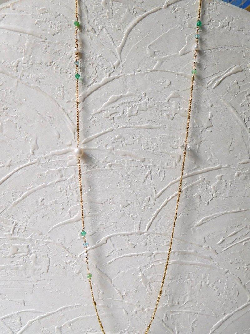 清新不對稱小寶石珍珠長鏈