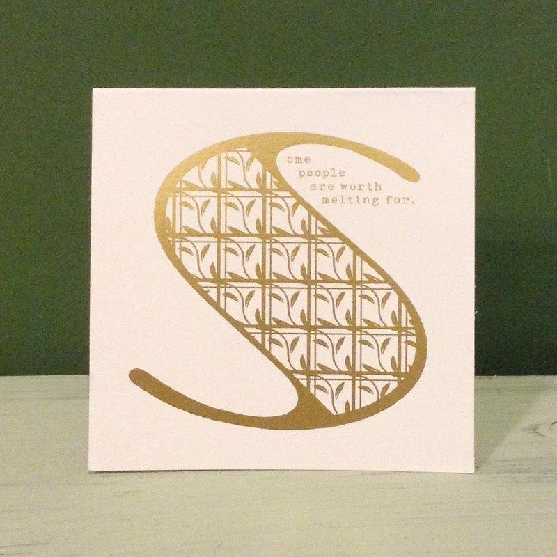 燙金字母卡片信封貼紙組-S