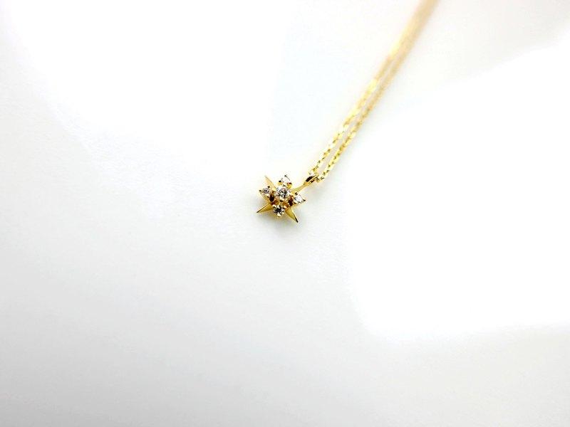 小貴婦款||璀燦結晶||單顆鑽設計款正10K金色極細鎖骨鍊4月誕生石