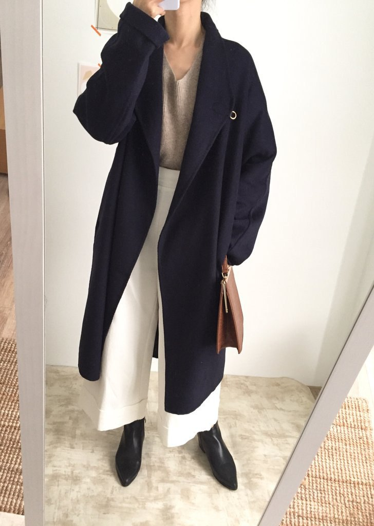 Fran Poncho 全手縫大翻領連肩袖極長雙面羊毛外套 多色/可訂做