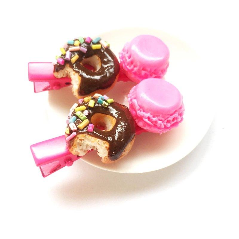 甜甜圈+馬卡龍8髮夾