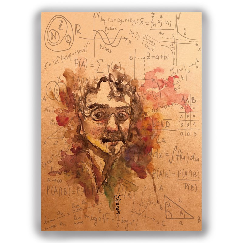 父親節-手繪插畫萬用卡/明信片/卡片/插畫卡--學者 智慧 知識