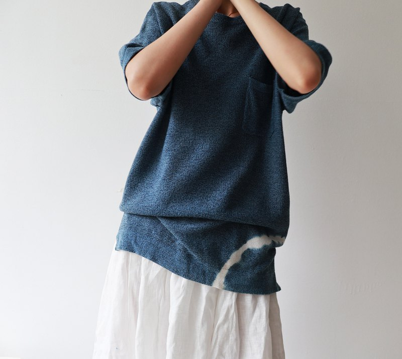 藍染針織衫 紮染 藍白亮色 男女情侶款 七夕特制