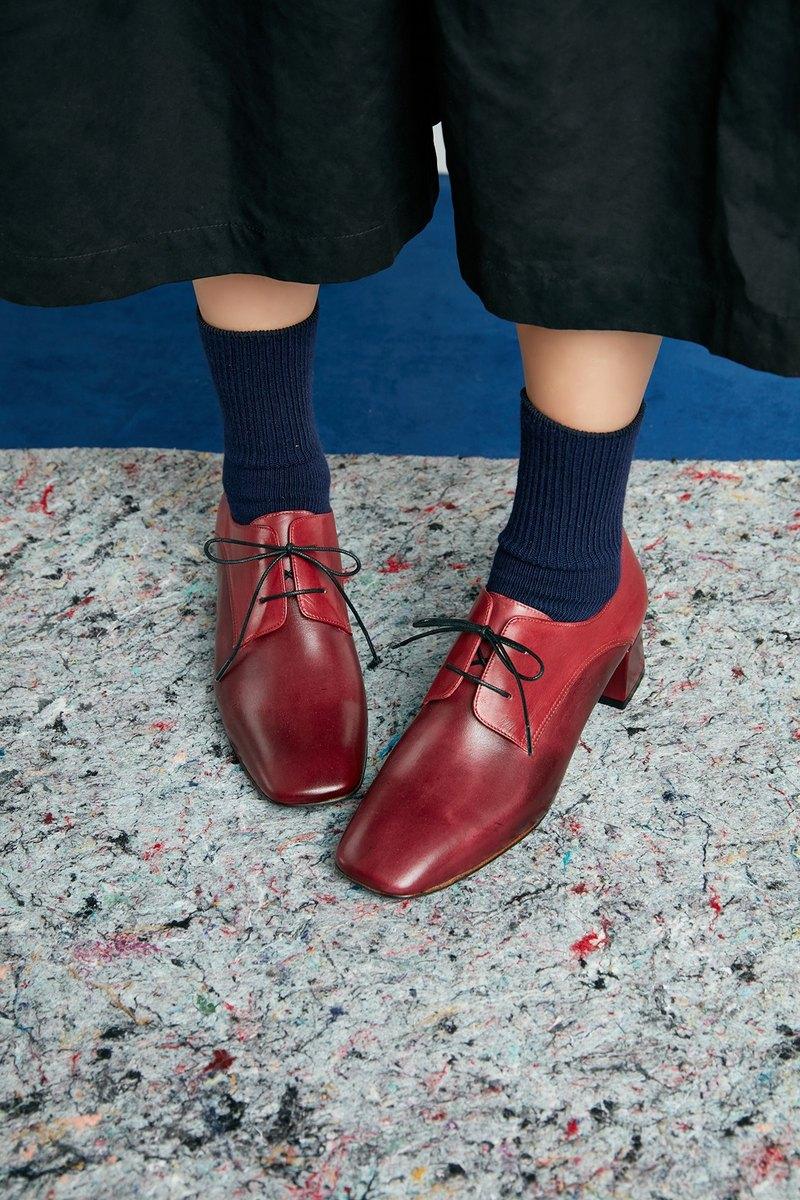 HTHREE  4.6方頭德比跟鞋/ 棗紅/ Square Toe Derby Heels