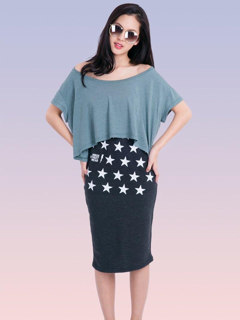 星星圖案印花棉質半身裙