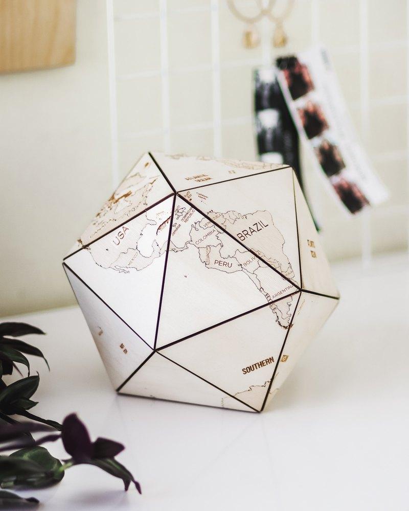世界地球辦公室供應父親兄弟丈夫的木二十面體禮物