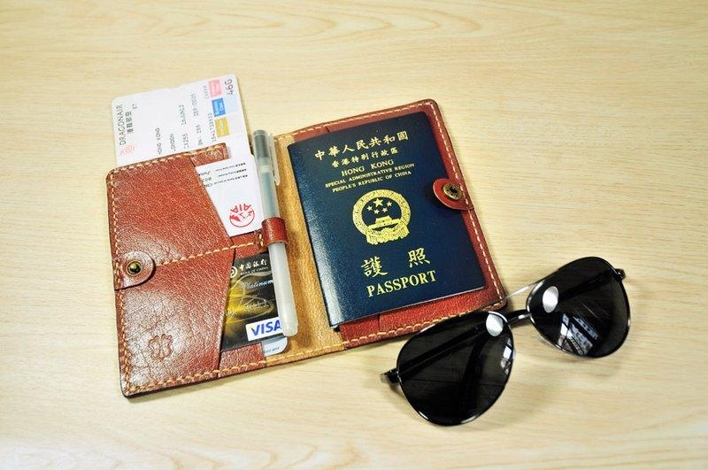 開心旅行出發吧! MICO 手縫皮革護照夾(Maroon)