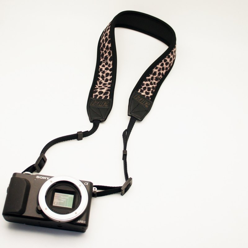BLR 手工 減壓 相機背帶 潛水布 彈力材質 淺褐 豹紋