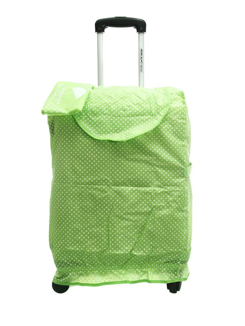 波點可折疊行李的防水雨衣 - 綠色