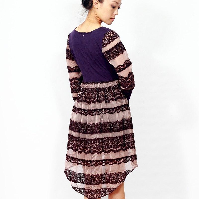 聖誕 禮物**冬裝出清*紫色的茉莉公主**紫色蕾絲小宮廷前短後長洋裝 BEZALEEL/禮服 伴娘服