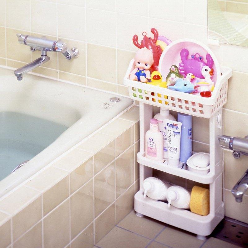 日本ISETO 日製浴室斜取置物架-3層