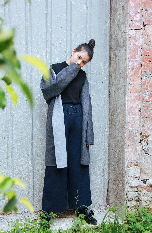 灰/炭灰可雙面穿著喀什米爾敞開式大衣 可訂做顏色