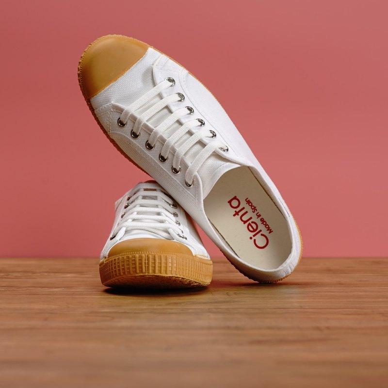 西班牙帆布鞋 CIENTA J74020 05 白色 黃底 020布料 大人 繫帶款