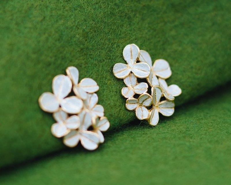 耳環-三葉草-金和銀-四葉草-葉耳環
