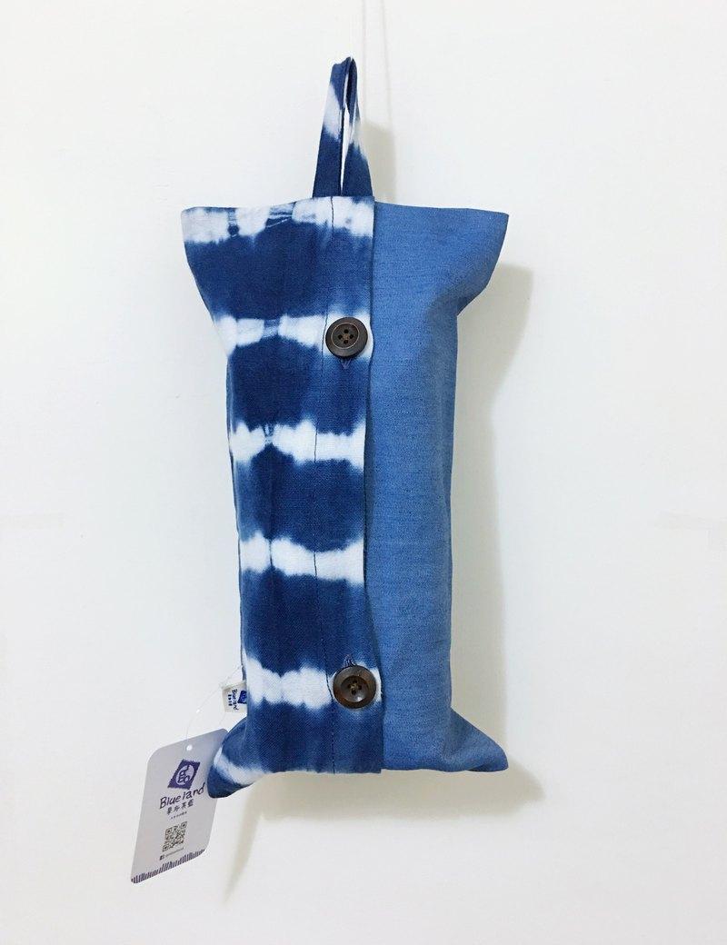 天然手作藍染 吊掛式面紙套