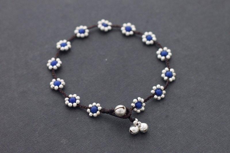 藍色玉銀腳鍊花串腳鍊手鐲石編織