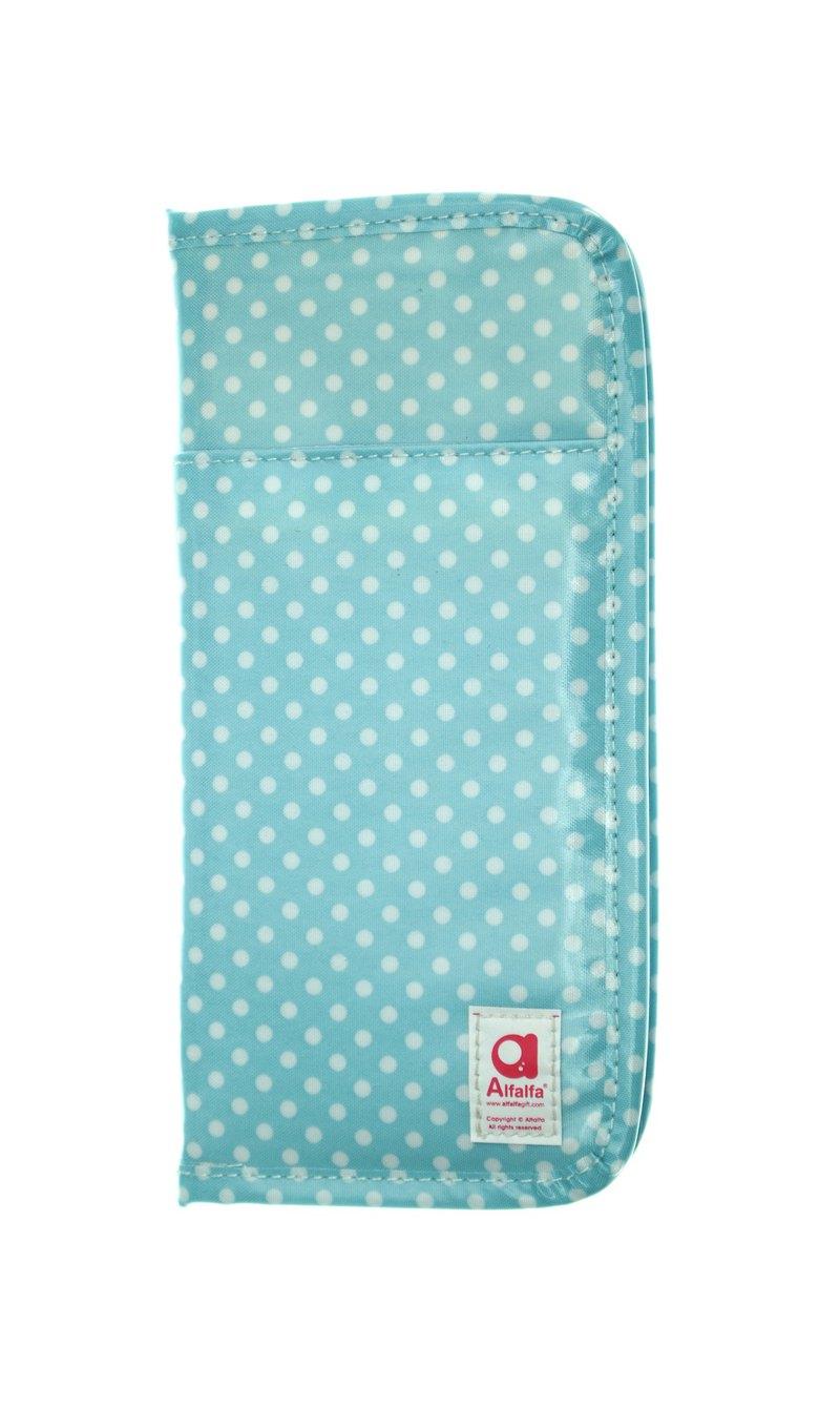 波點多功能旅行護照套錢包 - 淺藍色