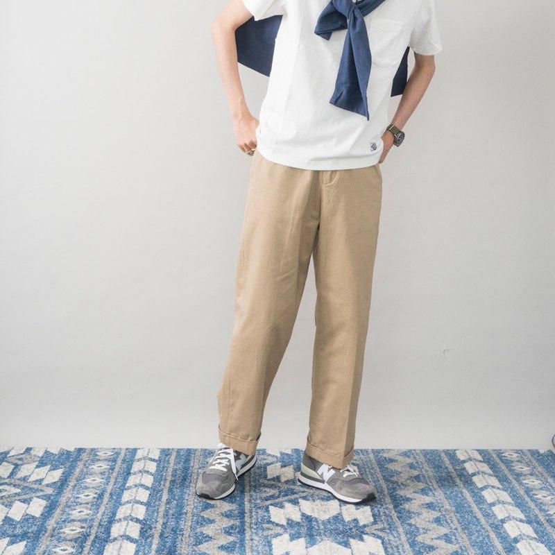 日系搭配 巴黎扣復古斜紋布9分寬鬆直筒垂感工裝褲 男女可穿