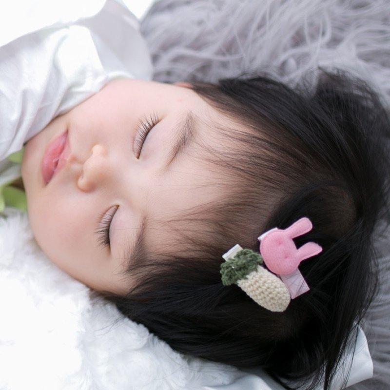 Cutie Bella 小兔與白蘿蔔髮夾 全包布手工髮飾 Bunny & Radish
