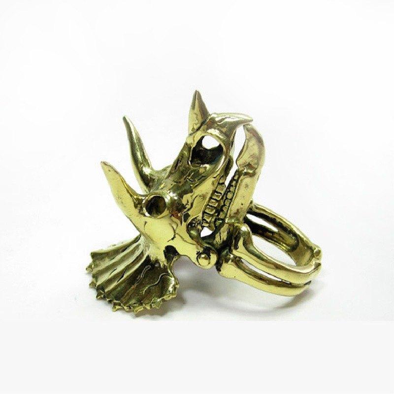 三角龍戒指黃銅色,搖臂珠寶,骷髏飾品,騎自行車珠寶