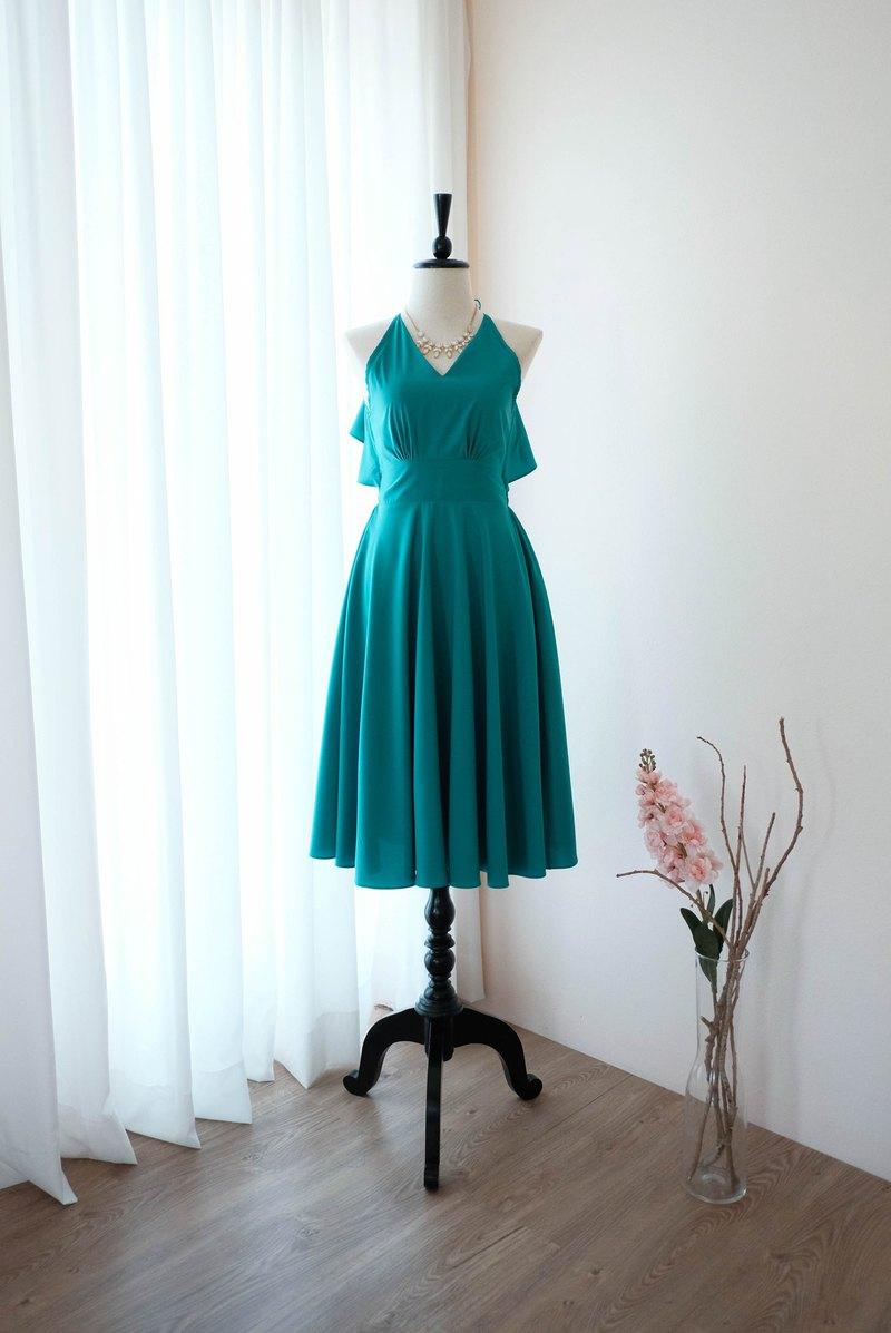 翡翠綠禮服女伴娘露背雞尾酒派對禮服