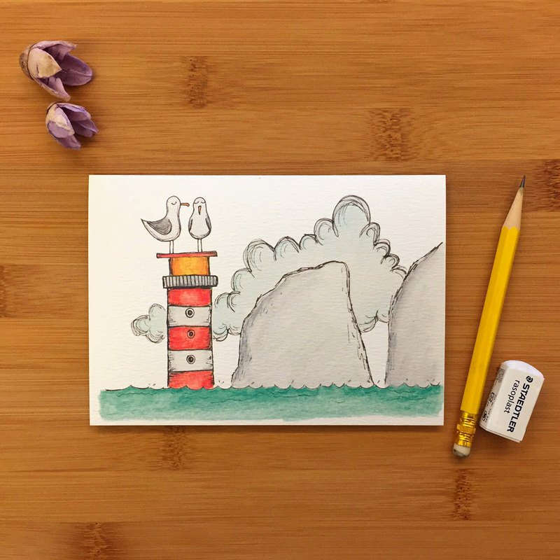 SEA GULL SAD NEEDLES 海鷗 燈塔 萬用卡 手繪插畫 環保紙材 英國進口卡片 019