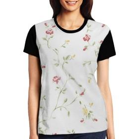 Tシャツ 女性 花柄 夏半袖 快適 Tシャツ レディース