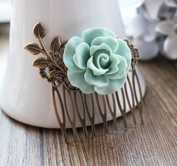 山茶花復古髮梳髮飾