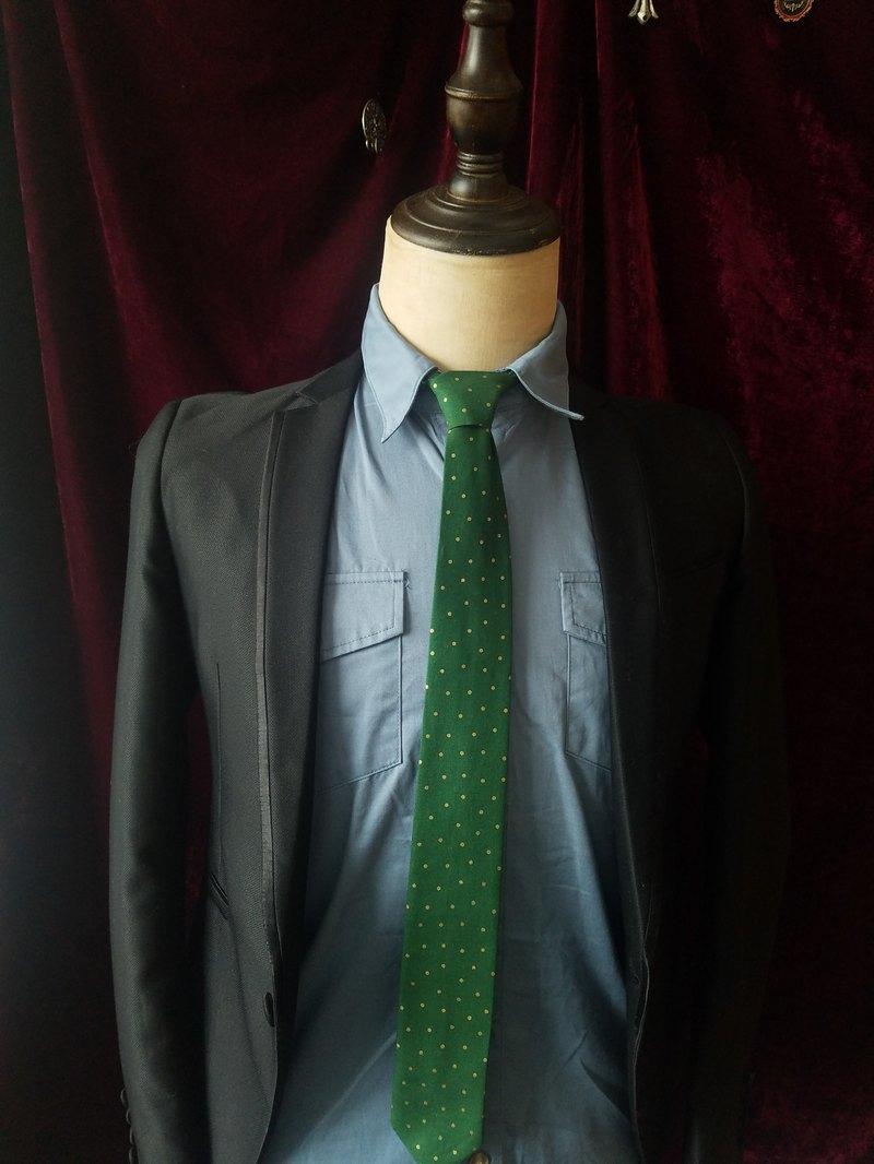 綠色金波點領帶紳士風窄版領帶