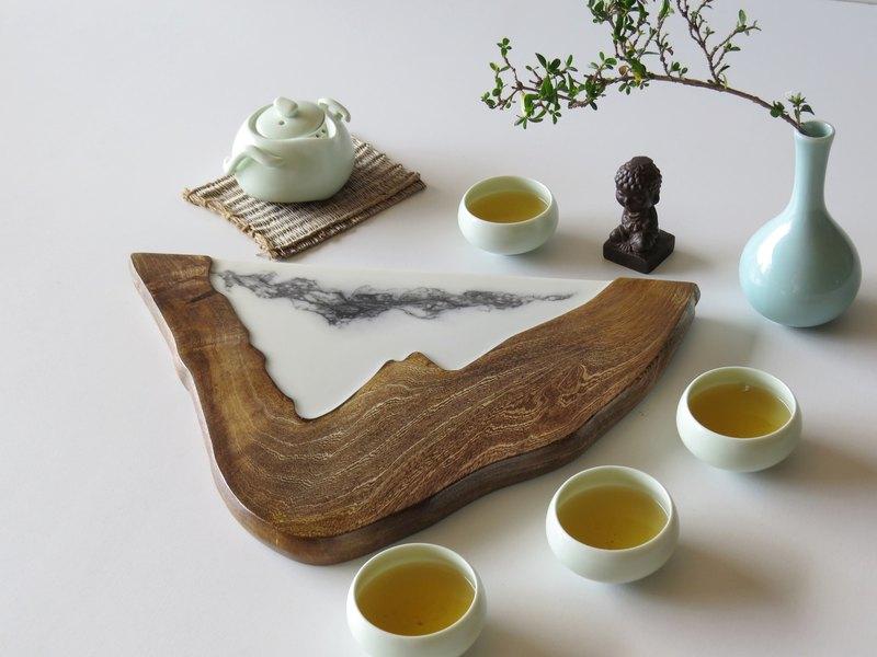 HO MOOD 解構系列—手作 原木仿石 茶盤(山水)