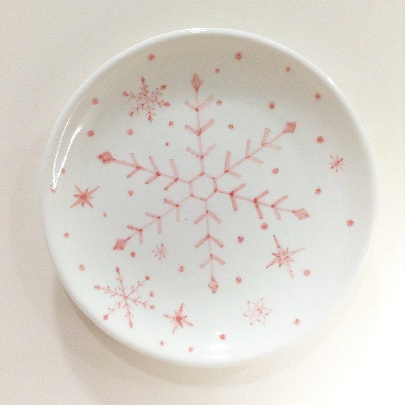雪花片片/粉紅 -【現貨】 聖誕手繪6吋蛋糕盤【聖誕節/聖誕禮物/交換禮物】