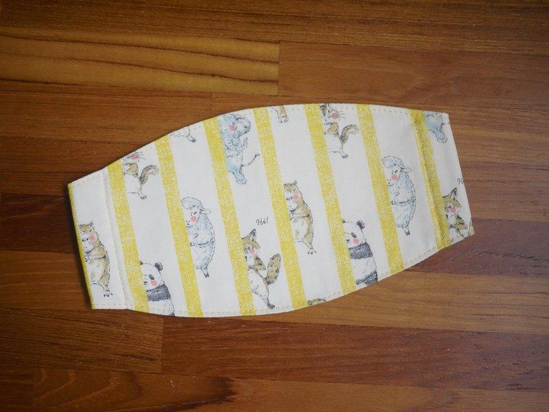 手作訂製=手作口罩=動物捉迷藏=暖陽黃=條紋款(日本布料)