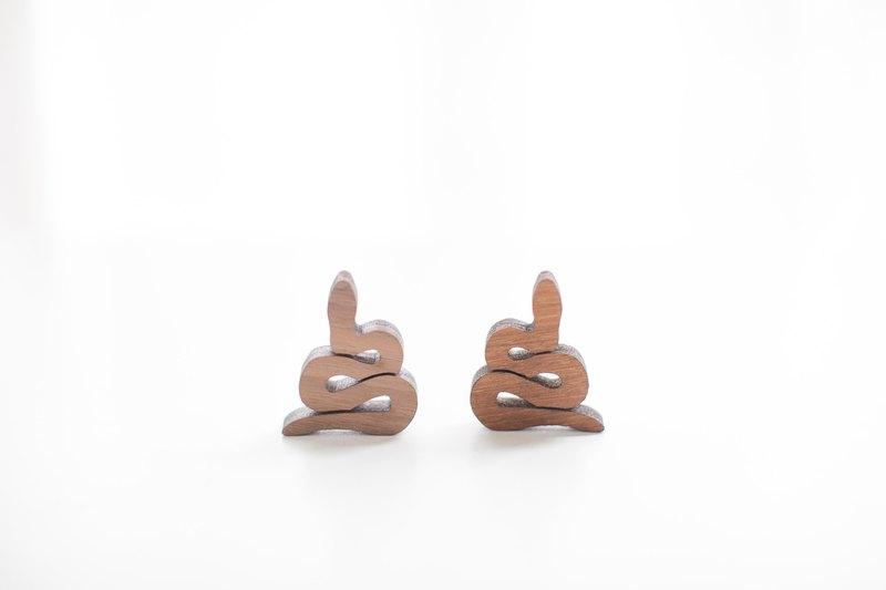 客製化姓名禮物原木深色造型木片 - 蛇