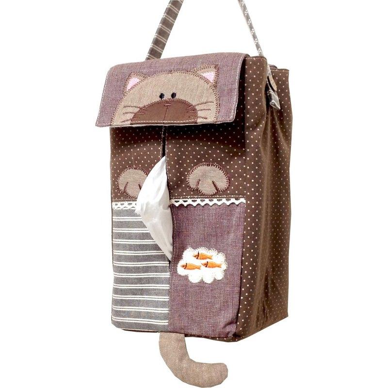 【BEAR BOY】和風貓咪掛式面紙套-咖