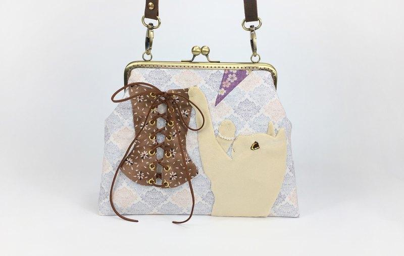 貓戀 しろねこ 白猫 バッグ 口金包 夾子斜背包 側背包 肩背包 創意禮物