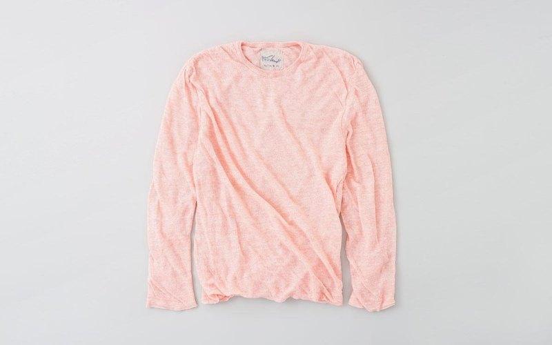 亞麻針織男裝/ M長袖套衫(粉紅色)