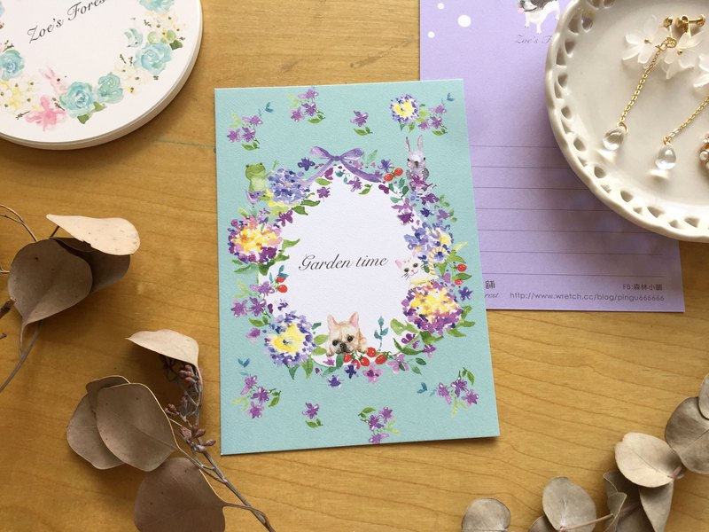 *Zoe's forest*紫色繡球花環動物明信片 cs21