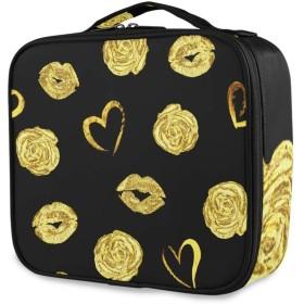 KAPANOU プロ用 メイクボックス シームレスなロマンチックパターン美しい金の唇 多機能 高品質 美容師 マニキュリスト 刺青師 専用 化粧ボックス メイクアップアーティスト 収納ケース メイクブラシ 化粧道具 大容量