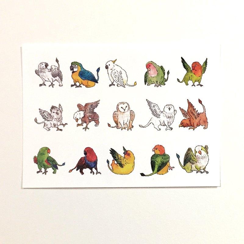 鸚鵡的日常-鸚鵡獅鷲獸 插畫明信片