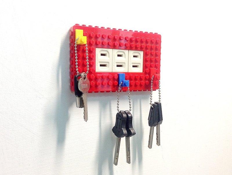 Qubefun 積木掛勾電源蓋+3入積木掛勾(時尚紅) 相容樂高 可愛禮物