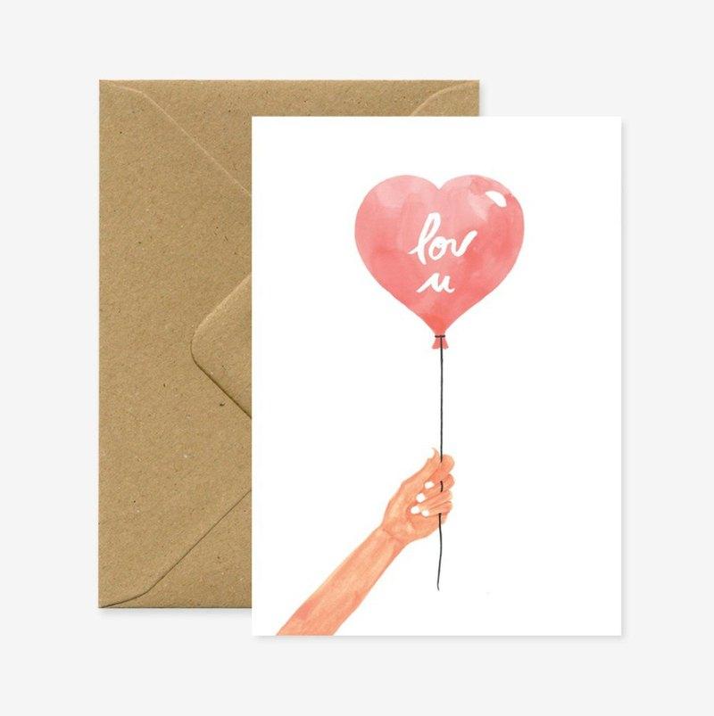 愛心汽球萬用卡片