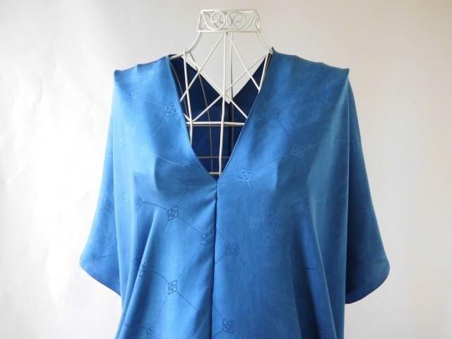 靛藍染色的葉子·100%絲綢外衣