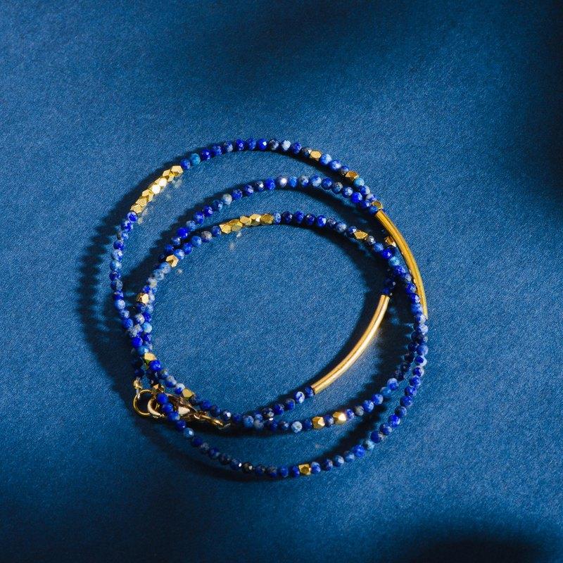 青金石14K包金手鍊 | 梵高的星夜 | 天然水晶極細系列多圈手鏈