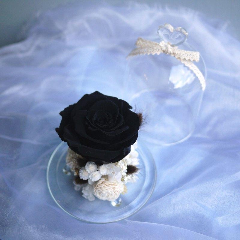 魔法不凋黑玫瑰 玻璃罩永生花 恆星花 美女與野獸