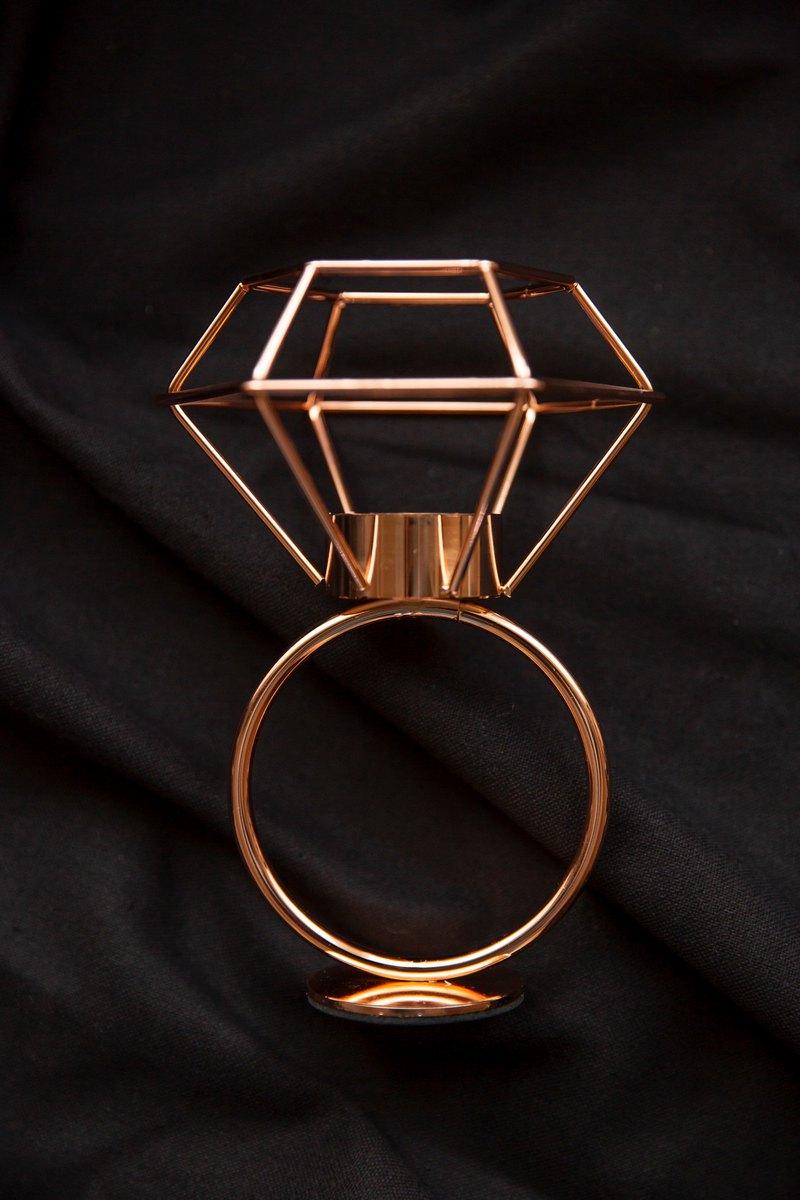 實驗計畫/零壹/幾何線條-鑽石燭台 飾品台-玫瑰金